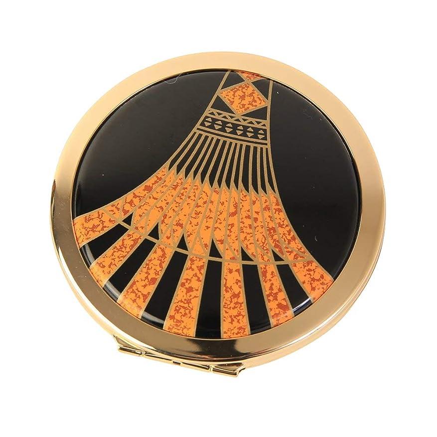 臭いチャンピオンシップ凝視Stratton ストラットン コンパクト ダブルミラー 等倍+拡大 ブラック×オレンジ Art Deco ST1139