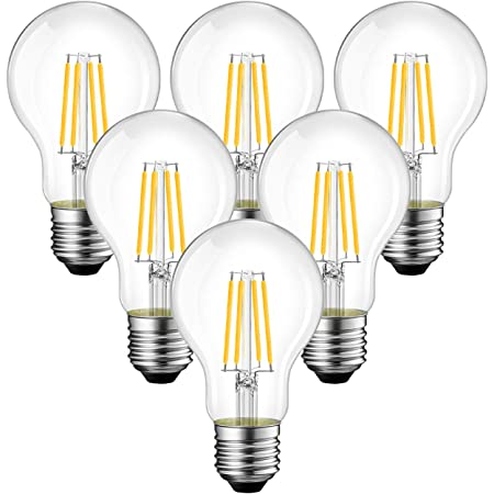 ANWIO A19 LED Vintage LED Filament Bulb E26 Base,Dimmable 11W (75W Equivalent),2700K Warm White 1100 Lumens,Omnidirectional, UL-Listed, Pack of 6