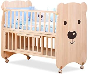 Crib Nursery Furniture Set Baby Cot Bed and Storage Room Solid Wood Furniture  Wood Color   Color Wood Color
