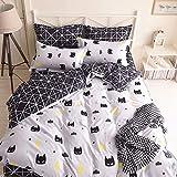 Vanson Black Bed Pillowcase Duvet Cover Quilt Cover Set 3D Batman Print Decoration 3 Pieces Set (Full Size)