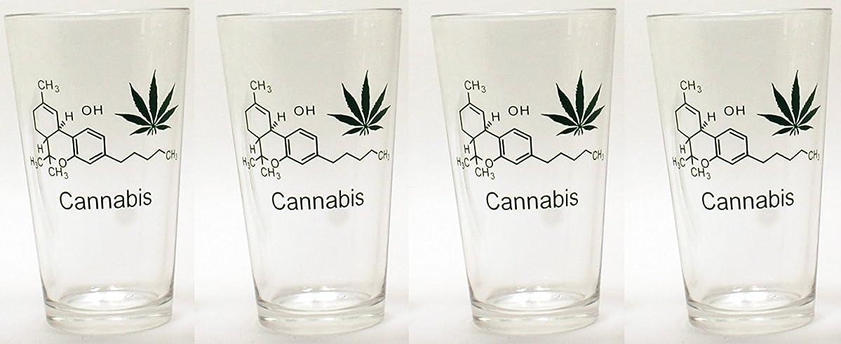 吐き出す貼り直す銀行16オンスホウケイ酸Pint Beer Glasses for Lager、Ale、ポーター、Stouts and IPAのwith「Cannabis /マリファナ