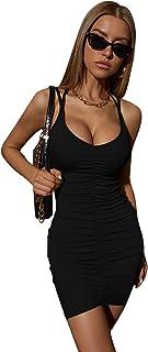 SheIn Women's Sleeveless Bodycon Short Cami Dresses Drawstring Tie Back Mini Dress