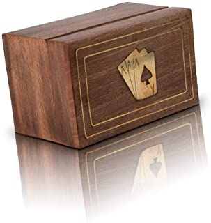 Unique Birthday Gift Ideas Handcrafted Classic Wooden Playing Card Holder Deck Box Storage Case Organizer With 2 Sets of P...