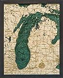 Lake Michigan 3-D Nautical Wood Chart, 16' x 20'