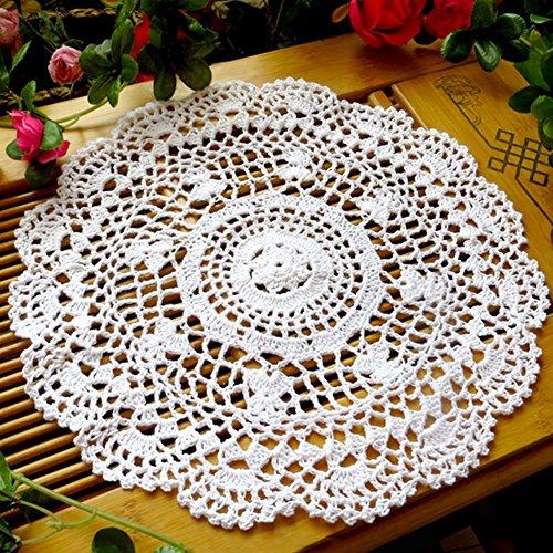 Tianfuheng Vintage, centrino rotondo traforato con fiori, lavorato a mano all'uncinetto, decorazione per il tavolo, sottobicchiere, White, taglia unica