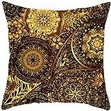Tamengi Funda de cojín decorativa de mandala negra dorada para sofá, decoración del hogar, fundas de almohada de lino y algodón, 45,7 x 45,7 cm