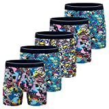 Mens Boxer Briefs, Cotton Underwear Comfy Breathable Tagless No Ride-up 6'' Regular Leg Printing Sport Boxers Brief with Fly 5Pack