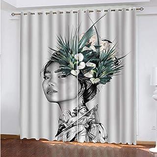 TTBBBB Mörkläggningsgardin termiska isolerade mjuka draperier 2 paneler – kvinnans porträttmönster – B 38 x H 30 cm fall f...