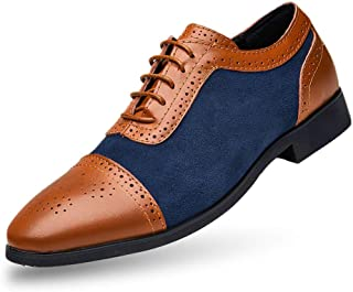 JIYE Men's Dress Shoes Genuine Cow Leather Oxfords Business Casual Shoes