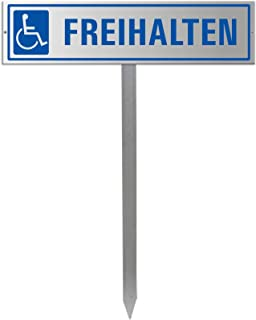 Parkplatzschild mit Einschlagpfosten bzw. Einschlagspieß und Schildhalterung plus Parkplatzschild 'FREIHALTEN' Nr.35438
