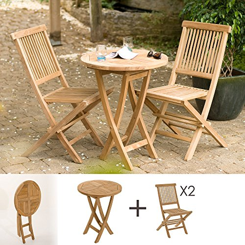 MACABANE 501096 Salon de Jardin Couleur Brut en Teck Dimension 60cm X 60cm X 77cm