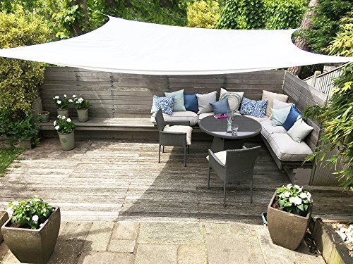 Clara Sun Shade Sail Garden White Waterproof UV Sun Protective Screen Shelter Awning Gazebo Canopy Pergola Patio Outdoor Indoor (Square 3.6m)
