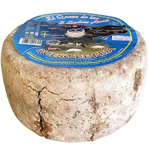 Queso Azul de Pria Tres Leches - Delicioso queso azul elaborado con leche de vaca a la que se le añaden crema de leche de oveja y crema de leche de cabra (Queso Completo 3,3 Kg)