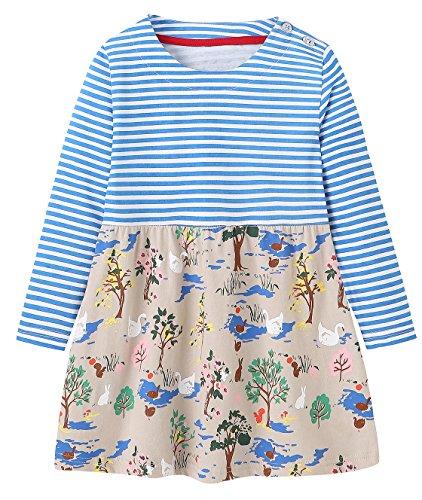 MISSHALO Girls Cotton Longsleeve Cartoon Applique Flower Dresses,Girls Striped CasualT-Shirt Dress,3T/3-4YRS,171006