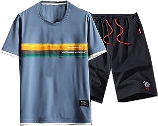 neveraway Men's Summer Sport Basic Cotton Relaxed 2 Piece Set Joggers Set