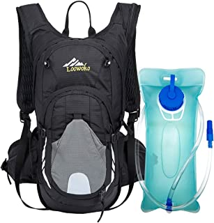 Loowoko 20L Hydration Riding Backpack with 2L Water Bladder, Multiple Pockets Includes Helmet mesh Belt Perfect for Cycling Running Camping Hiking