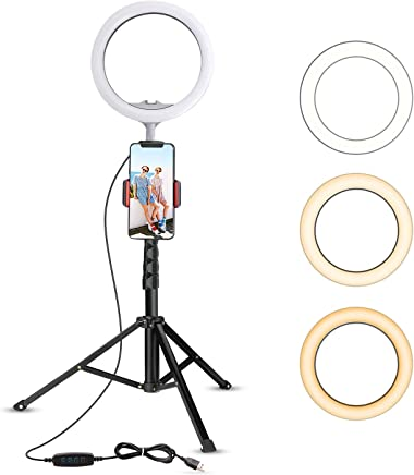 """10.2"""" Selfie Ring Light with Tripod Stand & Cell Phone Holder for Live Stream/Makeup, UBeesize Mini Led Camera Ringlight for YouTube Video/Photography Compatible with iPhone Android (Upgraded)"""