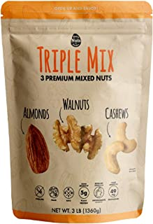 Daily Nuts Triple Mix (Mixed Nuts) 3LB Bulk (48 OZ)(3 Premium Tree Nuts) DRY ROASTED AND RAW, UNSALTED, HEALTHY MIXED NUTS