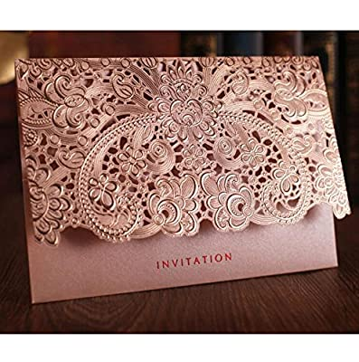 WOMHOPE 50 Pcs - Elegance Lace Emboss Laser Cut Card Wedding Invitation Party Folding Invitations Cards Birthday Invitations Cards Wedding Favors Party Favors (Pink White Envelope (Set of 50 pcs))