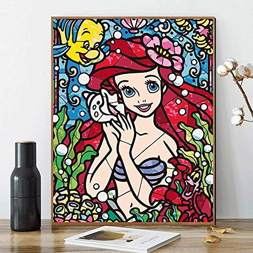 DIY Paint by Numbers for Adults Kids Disney Ariel Paint by Numbers DIY Painting Acrylic Paint by Numbers Painting Kit Home Wall Living Room Bedroom Decoration The Little Mermaid Ariel