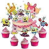 BESTZY 120pcs Bob Esponja Cupcake Toppers Decoración Tartas de Cumpleaños Pasteles Pequeña Esponja Traviesa Torta Primeros Magdalena Kit Pastel Para Niños Niñas