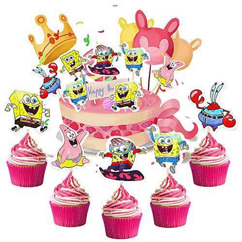 BESTZY 120pcs Spongebob Geburtstag Cake Topper Pai Daxing Geburtstag Happy Brthday Krabbenboss Tanzen Kuchen für Kinder Die Abenteuer des Wattebauschwürfels