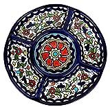 Ceramics - Piatti da portata a 5 sezioni, fatti a mano, vassoi divisi per feste, patatine fritte e salse, set per antipasti, verdure, caramelle e snack (piccolo, multicolore oliva)