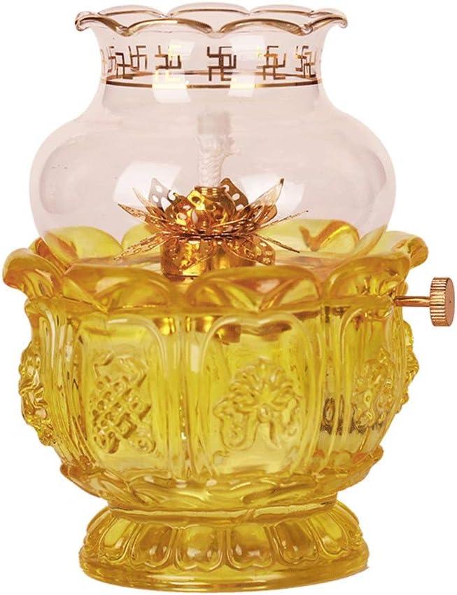 Tauzveok Oil Lamp Kerosene Lamp Transparent Glass Buddha Burner Nostalgic Butter Oil Lamp for Buddha Lamp Retro Props,Clear,18CM