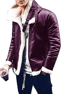 Sodossny-AU Men's Outwear Fleece Thick Winter Faux-Leather PU Zipper Trucker Jackets