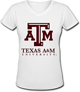 Dalef Women's Texas A&M Aggie 3 Anime Cotton T Shirt Size US White