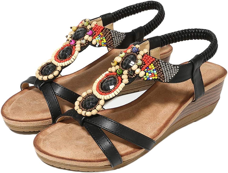 Women's Open Toe Sandal Summer Bohemia Flower Rhinestone Bead Folk Dunlop Sandals Boho Beach Elastic Ankle Strap Wedges shoes