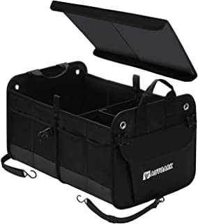 Autoark Multipurpose Car SUV Trunk Organizer with Cover and Straps,Durable Collapsible Adjustable Compartments Cargo Stora...