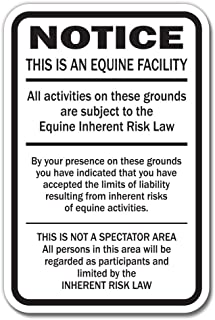 Supplemental Equine Liability Sign Warning Statute Horse barn Stable Farm Signs