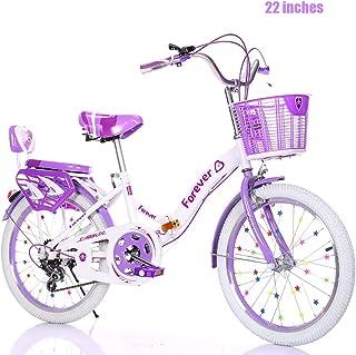 Bicicleta Bicicleta De Niña De 22 Pulgadas Bicicleta para Niños De 8 A 14 Años Adecuado para 140-160 Cm Seguro Y Estable, Plegable Y Fácil De Transportar (Velocidad Variable)