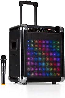 "auna Moving 80.2 LED PA-systeem - 8""(20 cm) woofer, 35 W nominaal vermogen, 100 W max. piekvermogen, VHF micro, USB-poort,..."