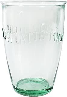 Amici Home Z7AI8130S6R Euro Milk Recycled Green Glass Drinkware Italian Made, 13 Fluid Ounce Capacity Each Each, Set of 6, Clear