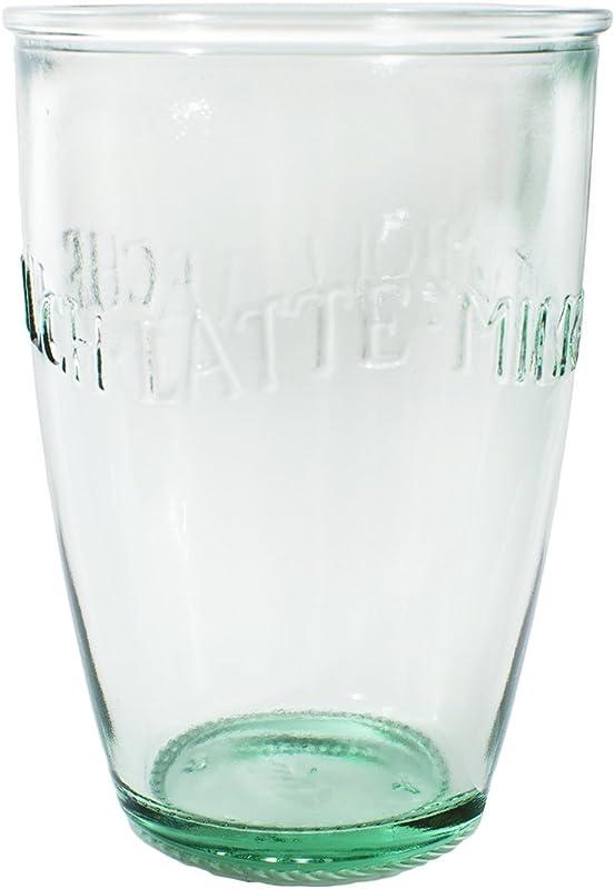 Amici Home Z7AI8130S6R Euro Milk Recycled Green Glass Drinkware Italian Made 13 Fluid Ounce Capacity Each Each Set Of 6 Clear