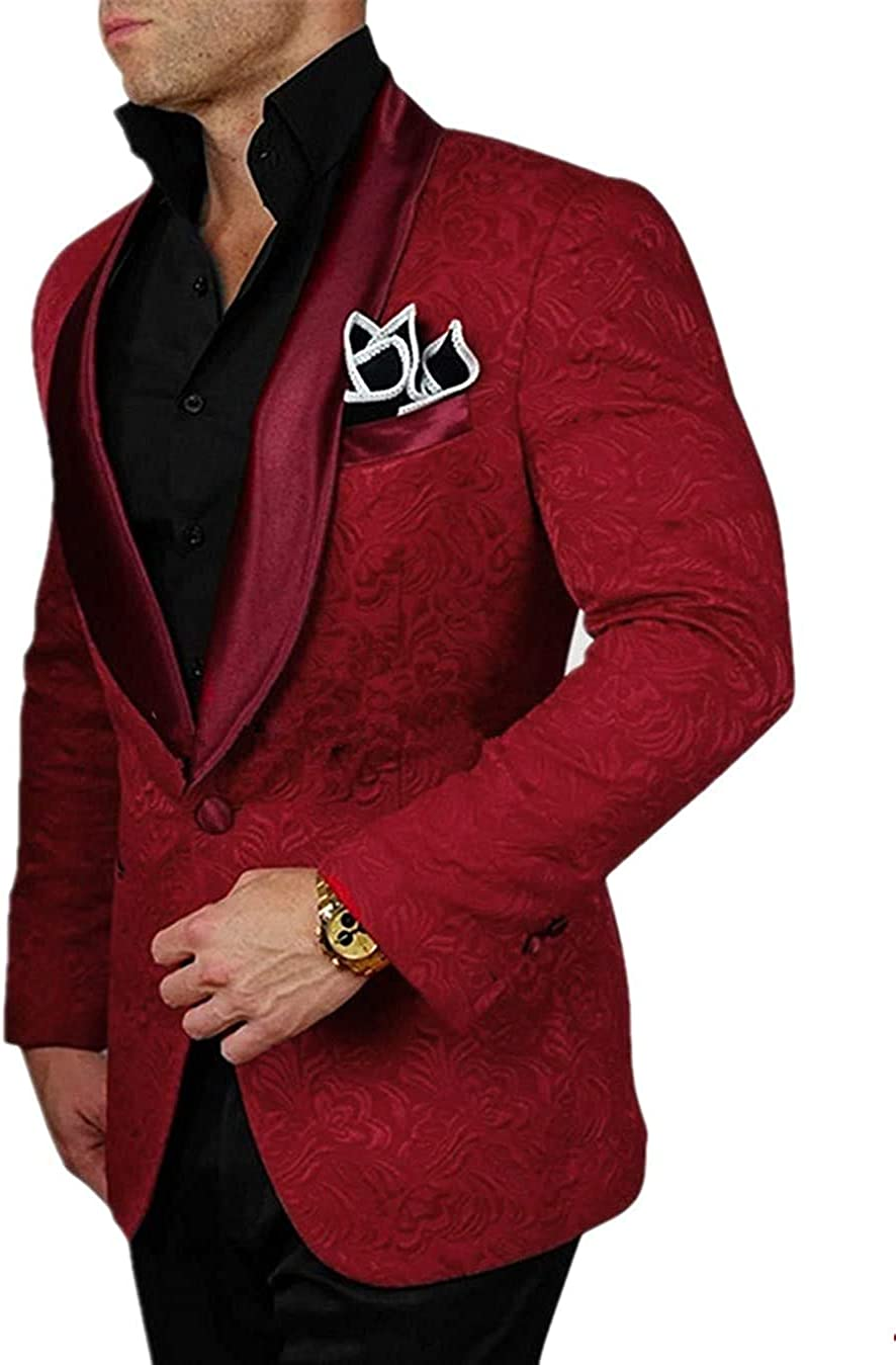 Setwell Men's Jacquard Tuxedo Blazer Coat Shawl Lapel Suits Jacket for Wedding Party STJK002