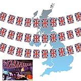 CHALA 10M British Bunting Banner, 30 Banderas The Union Jack Bunting UK Bandera temática vintage completa para la celebración del Día Nacional Boda al aire libre Fiesta de jardín Pubs Decoración