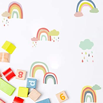 Peel and Stick Removable Wall Stickers for Kids Nursery Bedroom Living Room,Wall Decor 28.7 x15.7inch Boliaman Rainbow Wall Decals