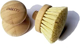 Sponsored Ad - Milieco Natural Cleaning Kitchen Mini Scrub Brush w/Replaceable Brush Head for Dish Cast Iron Skillet Pots ...