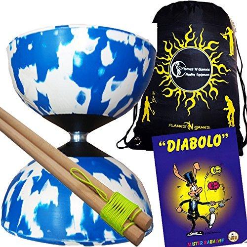 Mr Babache Harlequin Diabolo Set - Blue/White! With Wooden Diablo sticks, Mr Babache Diabolo Book of Tricks + Flames 'N Games FABRIC Diabolo Travel Bag!