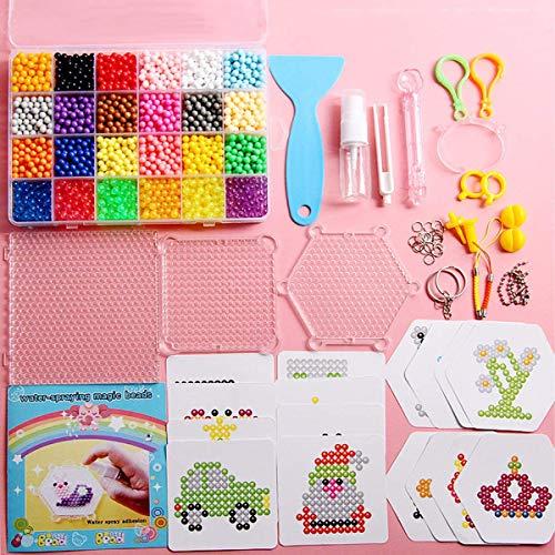 Xiuyer 3000 Abalorios Cuentas de Agua 24 Colores 5mm Perlas de Recarga con Accesorios Water Sticky Beads Kits para Niños Juguetes Educativos Regalos Artesanía de Bricolaje