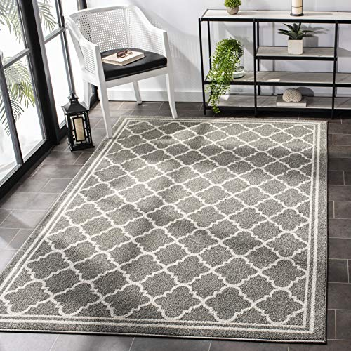 Safavieh Amherst Collection AMT422R Moroccan Trellis Area Rug, 9' x 12', Dark Grey/Beige
