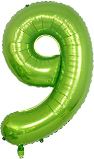 40 Inch Green Alphabet Letter Foil Helium Digital Balloons Number 9 for Birthday Anniversary Party Festival Decorations