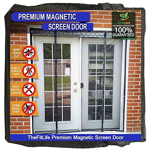 TheFitLife Double Door Magnetic Screen - Mesh Curtain with Full Frame Hook & Loop Powerful Magnets, Snap Shut Automatically for Patio, Sliding Or Large Door, Black Fits Doors up to 72