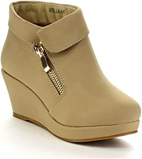 8374b5438ed0 Beston Lucky Top Stella-6K Children Girl s Platform Wedge Heel Fold Over Ankle  Booties