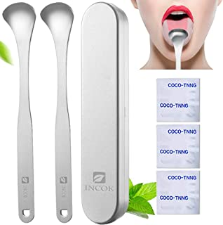 Stainless Steel Tongue Scraper Cleaner - Fresh Breath Tongue Scrapers Medical Grade Metal Tongue Scraping Cleaner with Carrying Case 3 Convenient Cleaning Tables for Oral Care