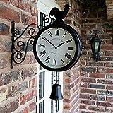 Reloj de pared para jardín exteriores de doble cara retro, con campana de gallo y soporte de estación, negro, 30x37x9 cm