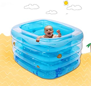 L&J Baby Inflatable swimming pool Rectangular Thick Warm Kiddie pool Transparent 4 rings-A